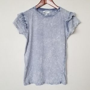 Distressed washed out ruffled tee tshirt